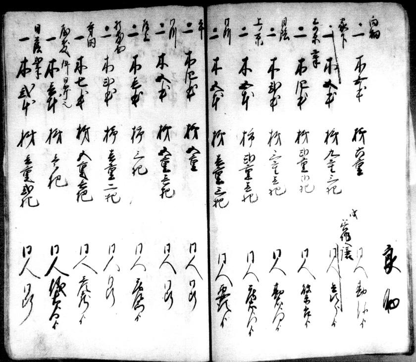 Figure 7: 1838 (neuvième année de l'ère Tenpo) Registre des emplacements des arbres à kaki du village de Kume. Registre d'arbres à kaki retrouvé dans la maison du chef du village de Kume (aujourd'hui Kume, ville d'Iida, préfecture de Nagano). Centre de recherches historiques de la ville d'Iida / Registre de photos historiques « Documents appartenant à Sakai Yoshio »